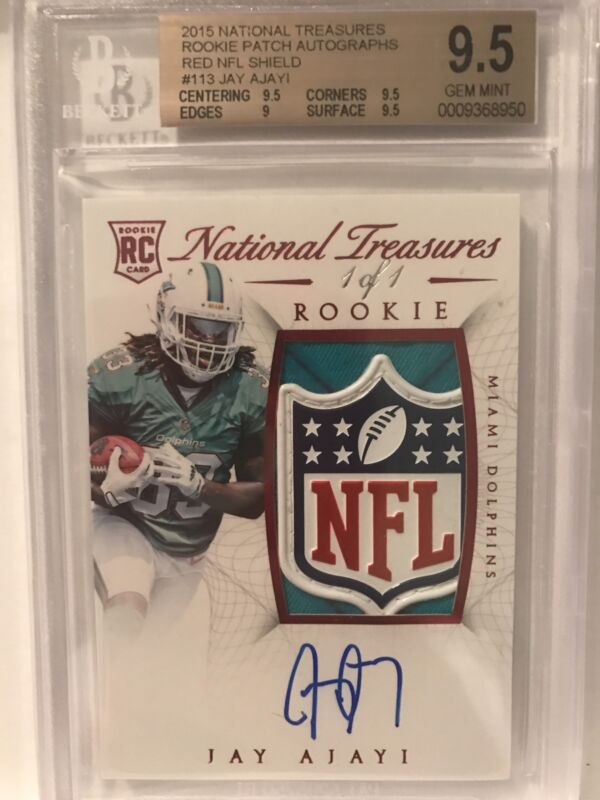 2015 National Treasures Jay Ajayi 1/1 NFL Shield Rookie Patch Auto RC BGS 9.5/10