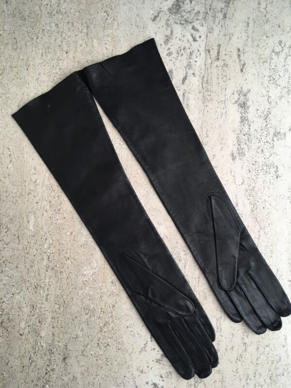 """Vintage Leather Gloves Womens Black Elbow Length Size 7 Never Worn 15.5"""""""
