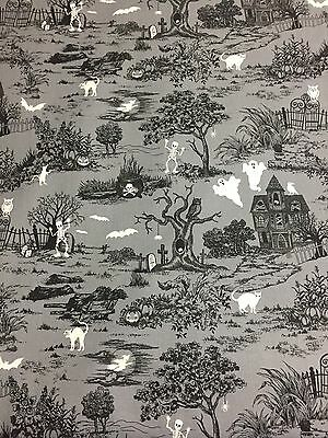 Scenic GLOW in the DARK Halloween w/ Ghosts Bats Haunted House Witch Fabric BTHY - Ghosts Halloween