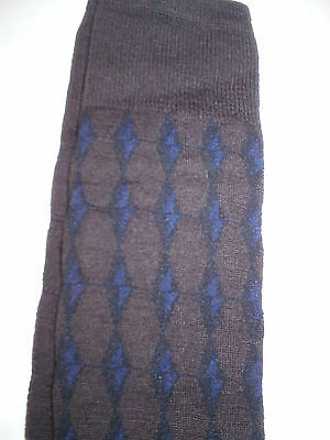 New NWT Womens Designer Marni Socks Wool Italy Knee High M Brown Blue Black III