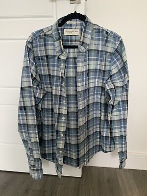 Abercrombie & Fitch Muscle Fit XXL Blue/white Checked Long Sleeve Shirt