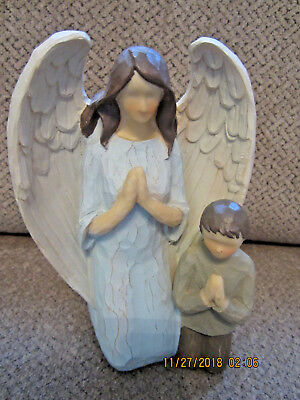Angel with boy child praying Willow Tree like style 7.5