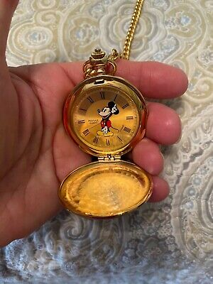 Pulsar Gold Tone Mickey Mouse Pocket Watch Excellent Cond. Works Great W/chain