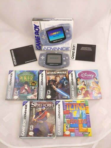 Game Boy Advance Handheld System + 5 Game Lot:  Star Wars, Tetris, Poker, etc.