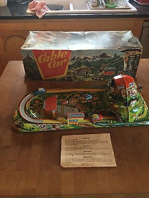 VINTAGE TECHNOFIX TIN PLATE WIND-UP CLOCKWORK CABLE CAR MOUNTAIN SCENE 303 SHELL