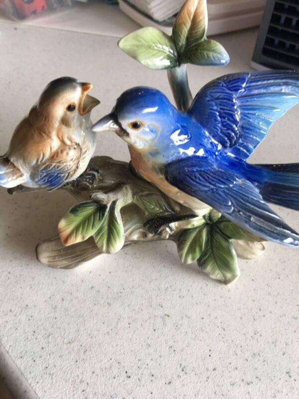 "Shafford Japan Bird Collection by JSC Bluebird FigurinePorcelain Vintage 7"""
