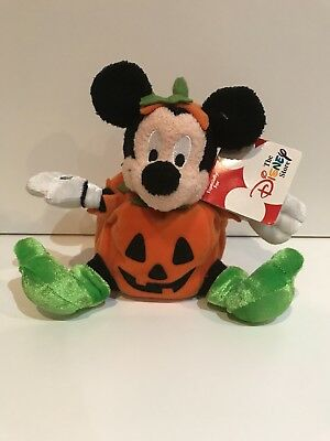"L@@k Disney Store Mickey Mouse Jack O Lantern 6"" Plush with TAG"