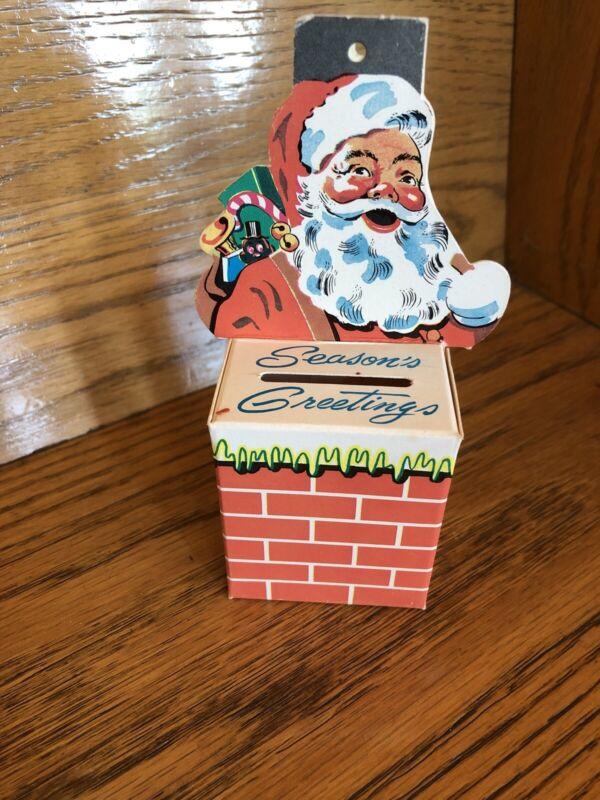 Vintage Christmas Cardboard Santa Ornament Savings Bank Coldwater Michigan  SMNB