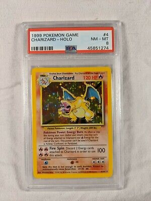 1999 Pokemon Charizard Base Set 4/102 PSA 8