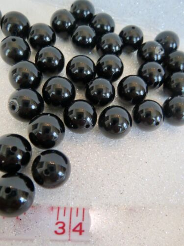 ***Lot of 34 Pieces*** 10mm ROUND BLACK ONYX BEADS for Stringing***Full Drill***