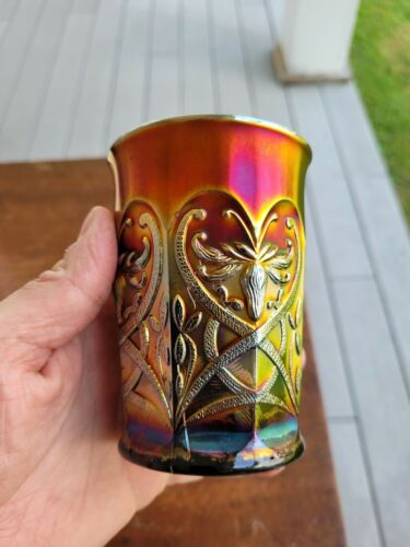 Wow Purple Northwood Carnival Glass Wishbone Tumbler
