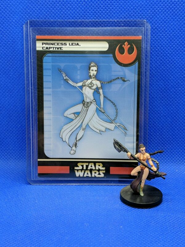 Star Wars Miniatures PRINCESS LEIA CAPTIVE Figure/Card Rebel Storm 2004 VR Jabba