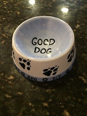 OUR NAME IS MUD LORRIE VEASEY CERAMIC DOG BOWL DISH- GOOD DOG- NEW