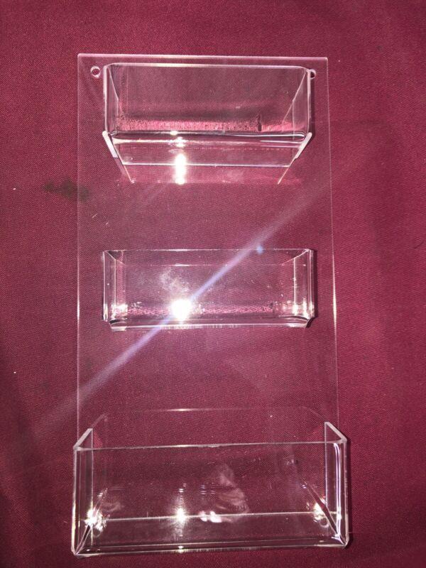 Three Pocket Clear Acrylic Plastic Horizontal Wall Mount Business Card Holder