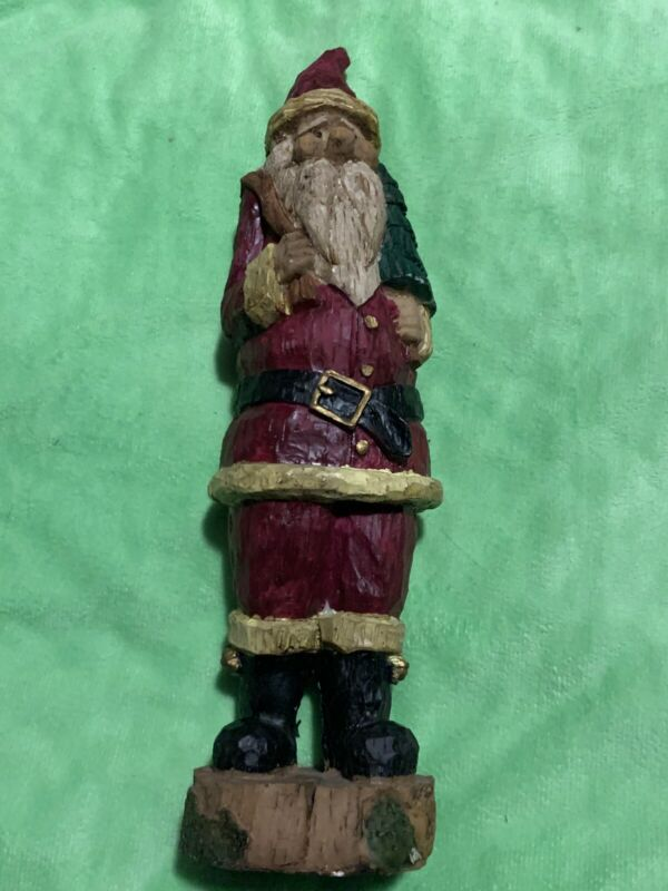 Vintage Wooden Carved Santa