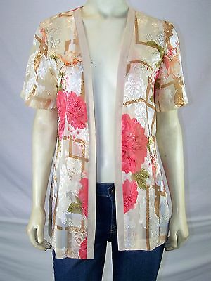 Charlotte Ivory Tan Pink Sheer Open Front Top Cover Womens Size Medium 8 10