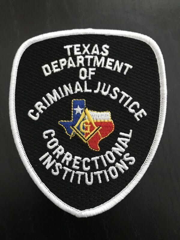 TEXAS DEPARTMENT CRIMINAL JUSTICE  MASON MASONIC SHOULDER PATCH  POLICE SHERIFF