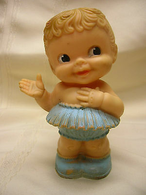 """Vintage 6"""" Rubber Squeak Doll Toy Alan Jay Cute Doll"""
