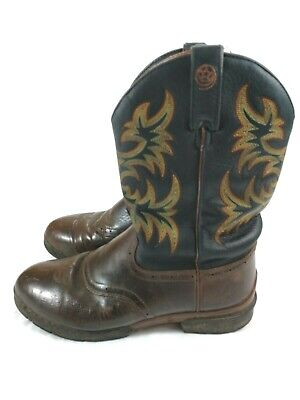 Justin George Strait  Mens Black Coffee Fireman Work  Boots Size 8.5 D
