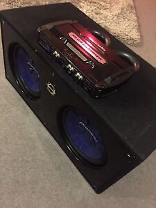 "^** TWO 12"" PIONEER SUBS IN BOX WITH 1600 WATT AMP!!"