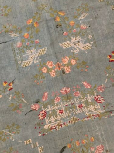 Antique French 18th century blue floral silk brocade fabric - garden motifs