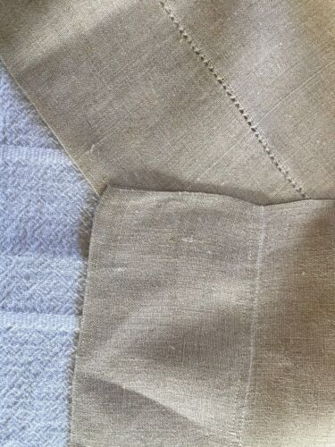 """17"""" x 67"""" antique unbleached linen lg towel / long runner country cottage fabric"""