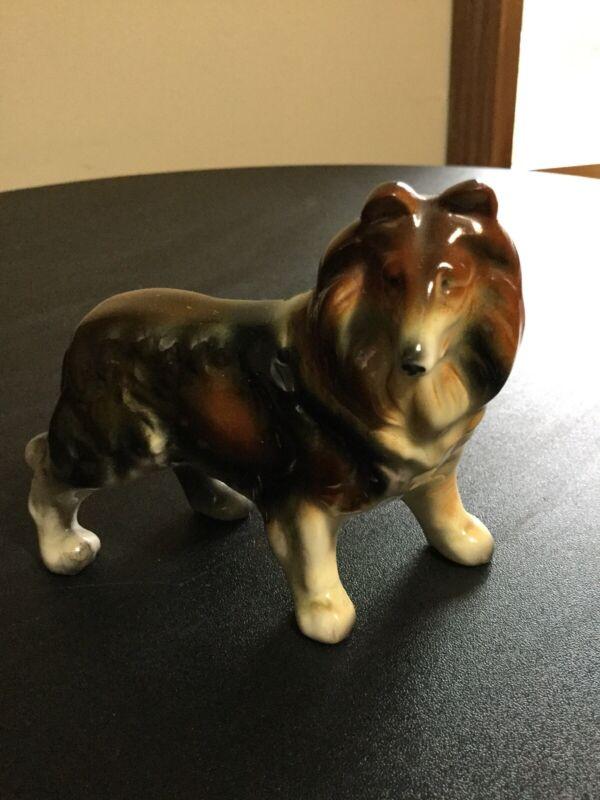"""Vintage Porcelain Collie Dog Figurine 3"""""""