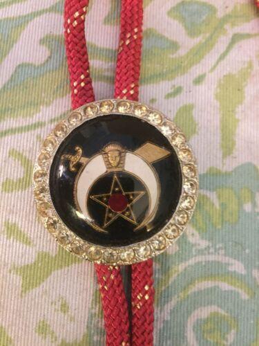 Vintage Masonic Shriner Bolo Tie Rhinestone Medallion