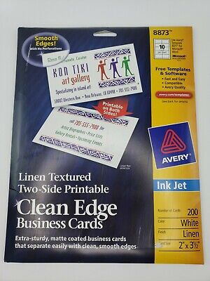 Avery 8873 Linen Textured Clean Edge Business Cards Has 180 Cards
