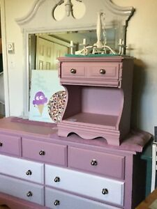 Dresser, mirror and single bedside table purple