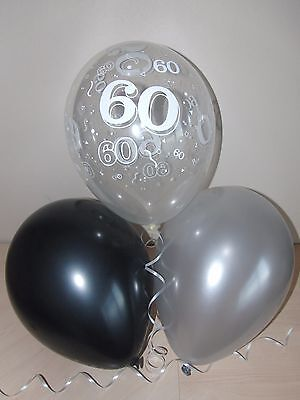 Black Silver & Clear Printed 60th BIRTHDAY BALLOONS Party Decorations x15 Helium