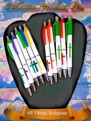 Religious Cross Various Color Black Ink 10ct Office Pens