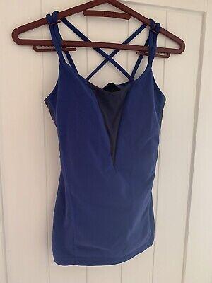 lululemon Sheer Back Blue And Black Tank Sports Top