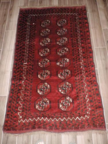 3x6ft. Vintage Geometric Turkoman Ersari Bokharra Wool Rug