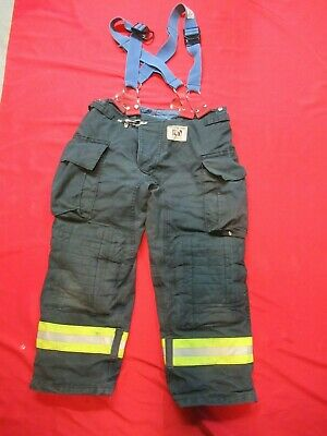 Morning Pride Fire Fighter Turnout Pants 38 X 28 Black Bunker Gear Suspenders