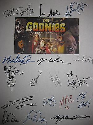 The Goonies Signed Film Script X17 Steven Spielberg Sean Astin Corey Feldman RPT