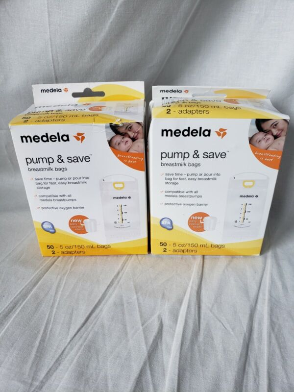 Medela Pump and Save Breast Milk Bags 50 Count With 2 Adapters Sealed (2 Pack)