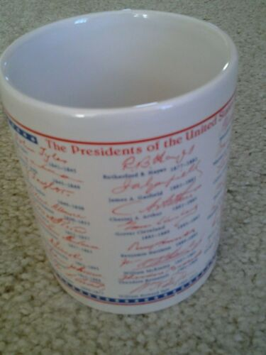 US PRESIDENTIAL DATES & SIGNATURES COFFEE MUG Washington through Clinton 1993
