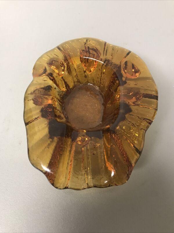 Vintage Heavy Blenko Amber Ashtray - Freeform Art Glass Trinket Dish - Stunning