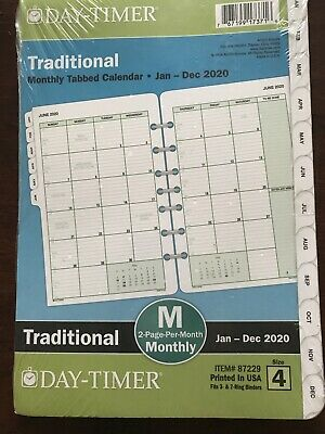 Day-timer 2020 Monthly Planner Refill 5-12 X 8-12 Desk Size 4 Two Pages