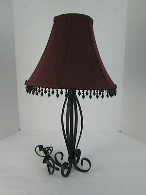 Table Lamp Black Metal Loop Design with Red Shade w Beads Light House Decor  ()