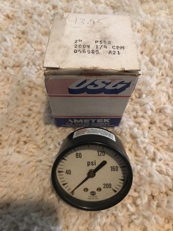 Vintage NOS USG AMETEK P500 0-200 PSI Pressure Gauge NIB U.S. GAUGE