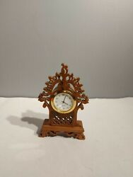 Carved Wood Grandfather Style Clock Battery Operated Quartz Brand New Battery