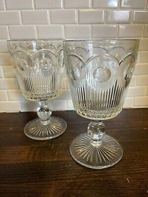 Pair of Vintage Pressed Glass Goblets