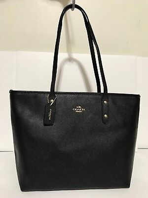 NWT Coach F58846 City Zip Tote Handbag Purse In Crossgrain Leather Color Black