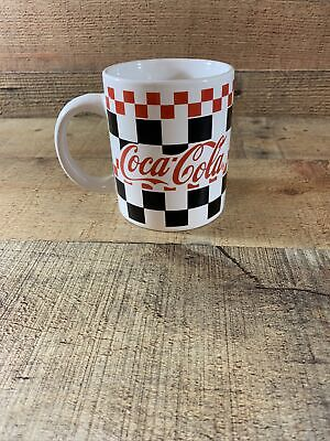Vintage Coca Cola Coffee Mug Black, White & Red Checkered By Gibson