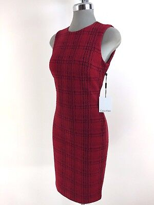 Calvin Klein Nwt Modern Red Dress Black Greed Pattern Size 2 6 8 10 12 14 16