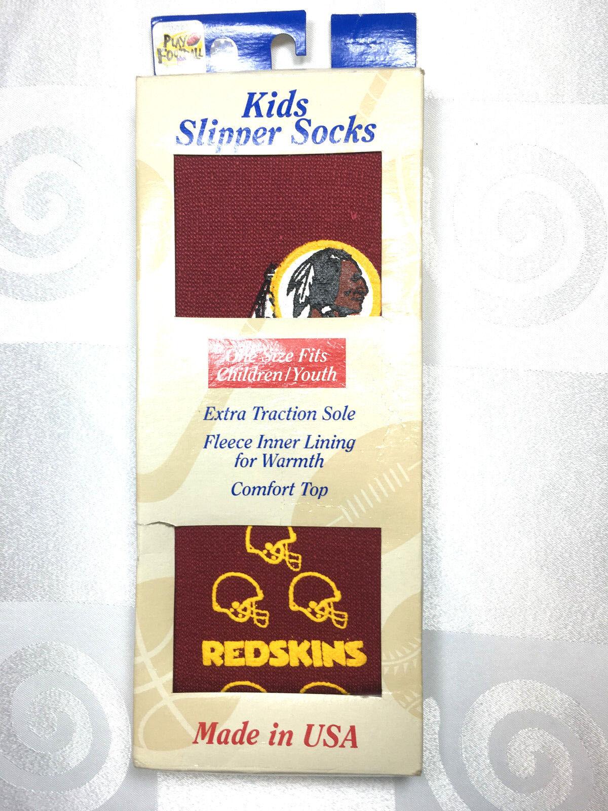 WASHINGTON RED SKINS NFL KIDS SLIPPER SOCKS UNISEX ONE SIZE FITS ALL MOST TEAMS Fan Apparel & Souvenirs