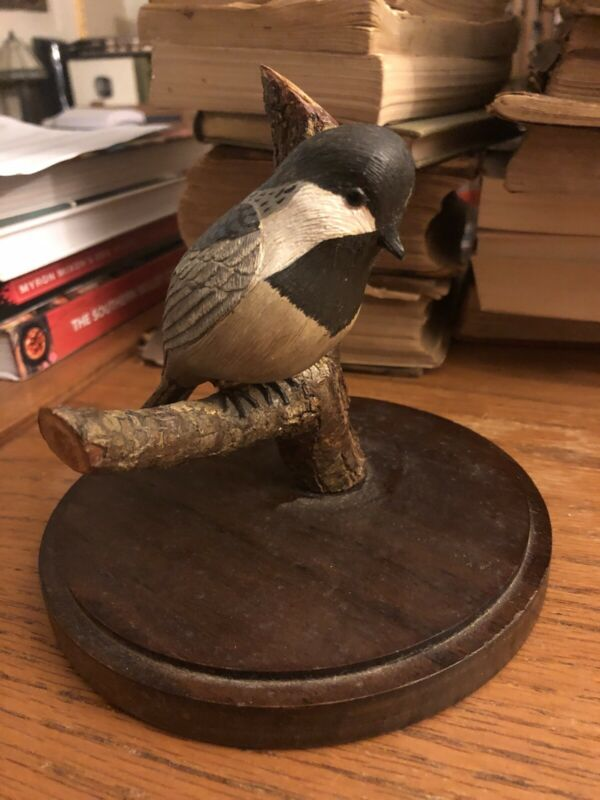 "Hand Carved Chickadee 6""H Wm Massey Waddington NY 1986 St Lawrence River w/Bible"
