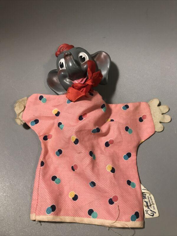 Vintage 1960s Gund Disney Rubber Head Dumbo The Flying Elephant Hand Puppet
